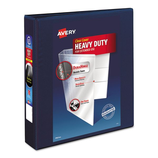 "Avery Heavy-Duty 3-Ring View Binder w/1-Touch EZD Rings, 1 1/2"" Capacity, Navy Blue"