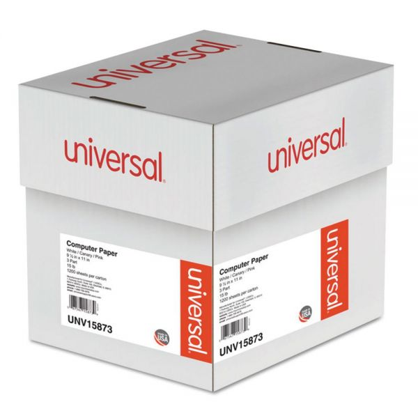 Universal Multicolor Computer Paper, 3-Part Carbonless, 15lb, 9-1/2 x 11, 1200 Sheets