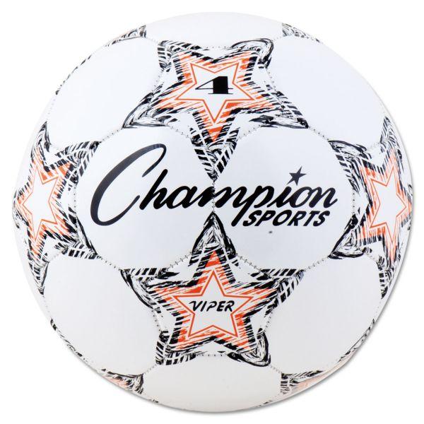 """Champion Sports VIPER Soccer Ball, Size 4, 8""""- 8 1/4"""" dia., White"""