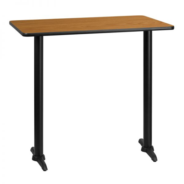 Flash Furniture 30'' x 42'' Rectangular Natural Laminate Table Top with 5'' x 22'' Bar Height Table Bases