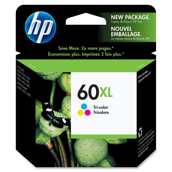 HP 60XL High Yield Tri-Color Ink Cartridge (CC644WN)