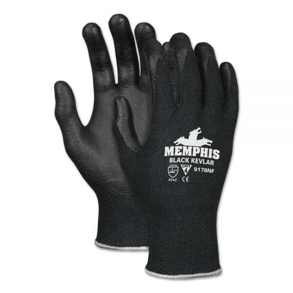 MCR Safety Kevlar Gloves 9178NF, Kevlar/Nitrile Foam, Black, Large