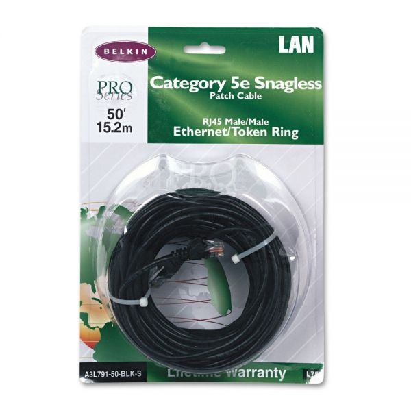 Belkin Cat5e 10/100 Base-T Patch Cable, Snagless, 50ft, Black