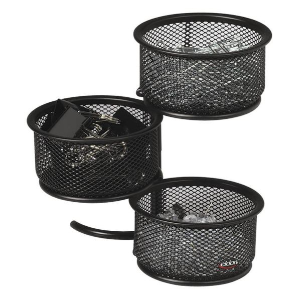 Rolodex 3 Tier Wire Mesh Swivel Tower Paper Clip Holder, 3 3/4 x 6 1/2 x 6, Black