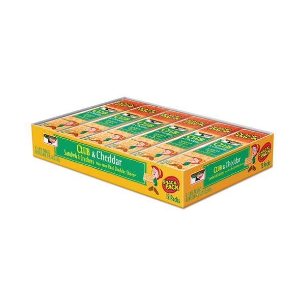 Keebler Sandwich Cracker, Club & Cheddar, 8 Cracker Snack Pack, 12/Box