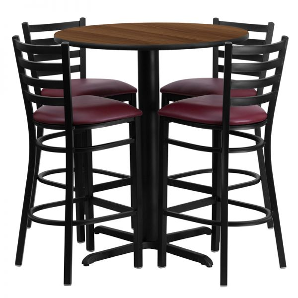 Flash Furniture 30'' Round Walnut Laminate Table Set with 4 Ladder Back Metal Barstools - Burgundy Vinyl Seat