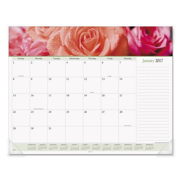 Visual Organizer Panoramic Floral Monthly Desk Pad Calendar