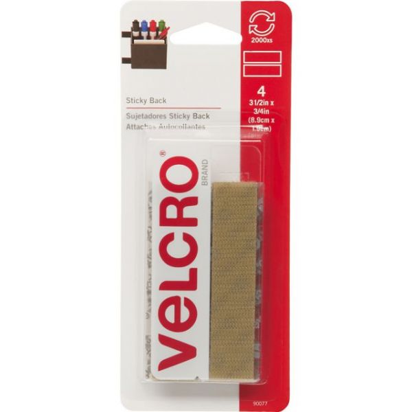 "VELCRO(R) Brand STICKY BACK Tape 3/4""X3-1/2"" 4/Pkg"