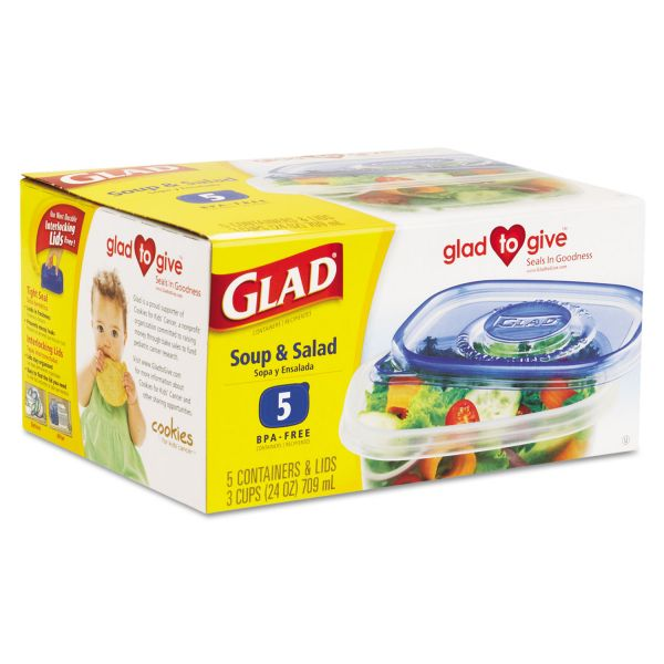 Glad GladWare Soup & Salad Food Storage Containers