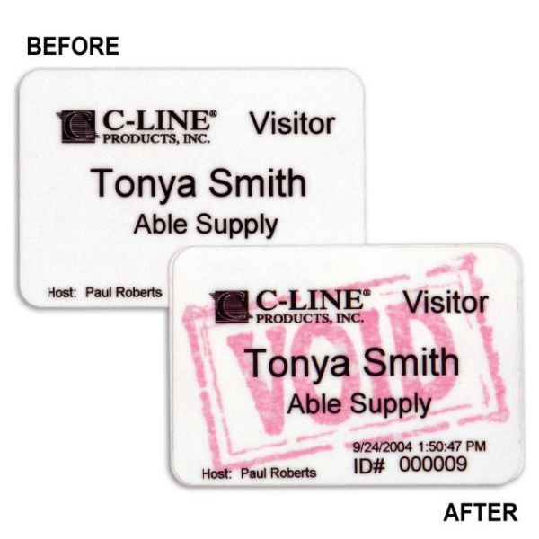 C-Line® Time's Up!® Self-Expiring One-Day VOID Visitor Badges