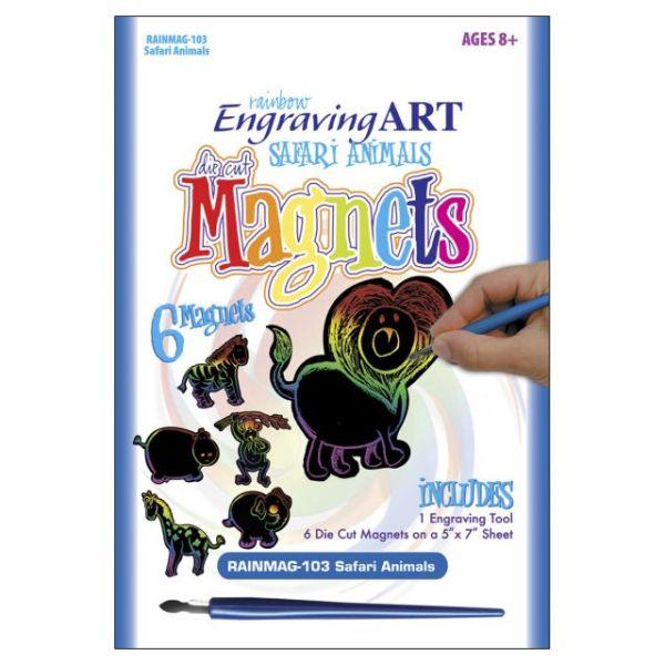 Rainbow Engraving Art Safari Animals Magnets