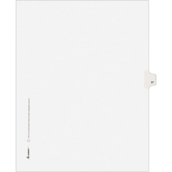 Avery-Style Legal Exhibit Side Tab Divider, Title: 37, Letter, White, 25/Pack