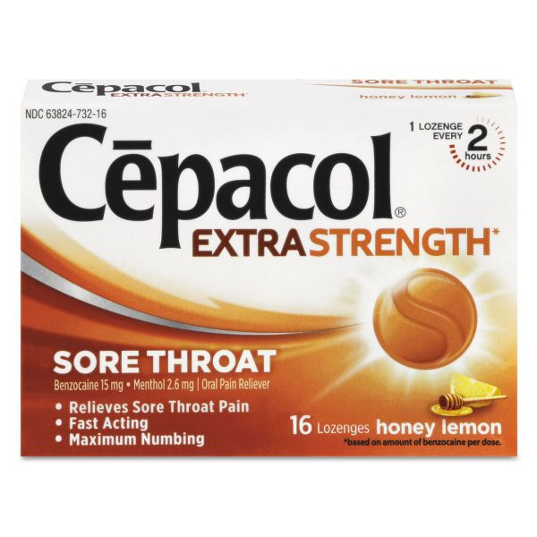Cepacol Extra Strength Lozenges, Honey Lemon, 16 Lozenges/Box, 24 Box/Carton