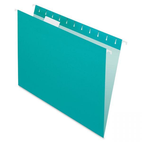 Pendaflex Colored Hanging Folders, 1/5 Tab, Letter, Aqua, 25/Box
