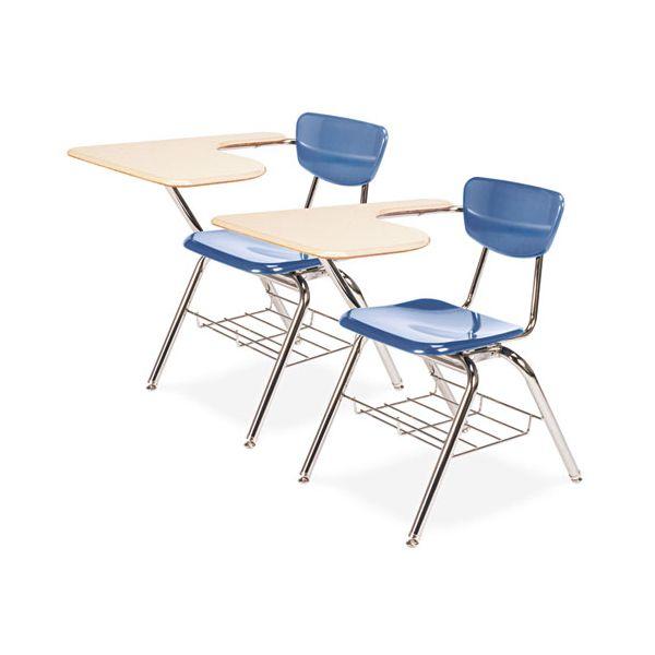 Virco 3700 Series Chair Desk, 20w x 31d x 30-1/2h, Sandstone/Blueberry, 2/Carton