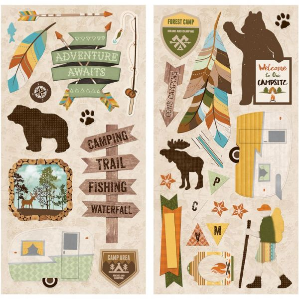 "Take A Hike Self-Adhesive Chipboard 12""X6"" Sheets 2/Pkg"