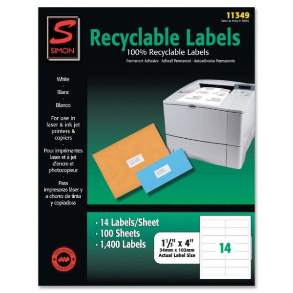 Simon SJ Paper Recyclable Laser/Ink Jet Labels
