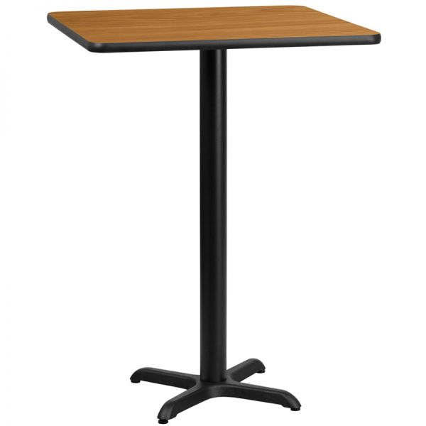 Flash Furniture 30'' Square Natural Laminate Table Top with 22'' x 22'' Bar Height Table Base