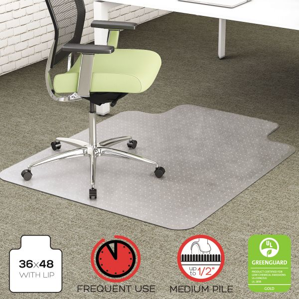 deflecto EnvironMat Recycled Anytime Use Chair Mat, Med Pile Carpet, 36x48 w/Lip, Clear