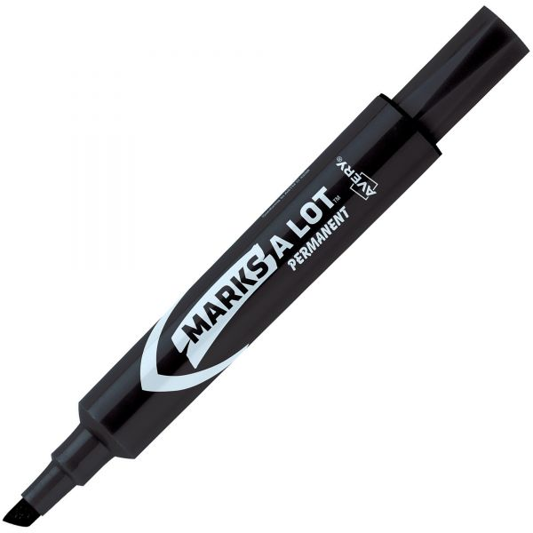 Avery MARK A LOT Regular Desk-Style Permanent Marker, Chisel Tip, Black, Dozen
