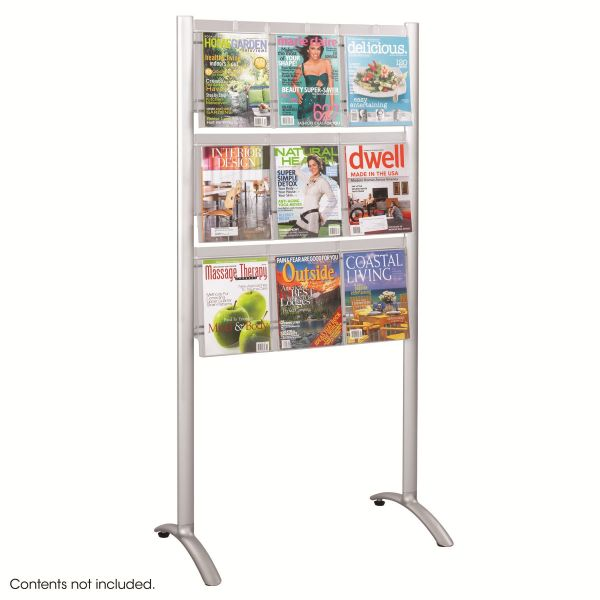 Safco Luxe Magazine Rack, Nine Compartments, 31-3/4w x 20d x 62-3/4h, Clear/Silver