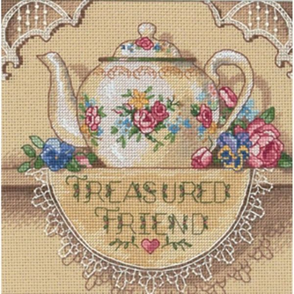 Dimensions Gold Petites Treasured Friend Teapot Counted Cross Stitch Kit