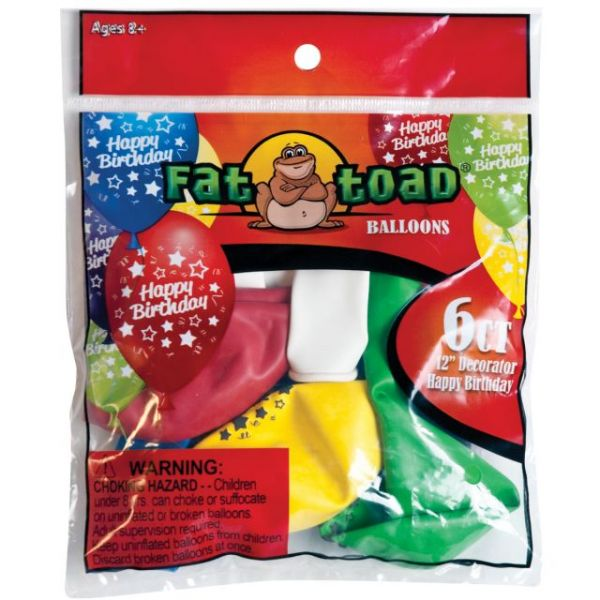 "Fat Toad Deco Latex Balloons 12"" 6/Pkg"