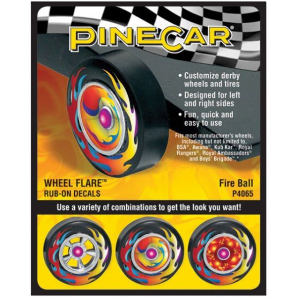 Pine Car Derby Wheel Flare(TM) Rub-On Decals