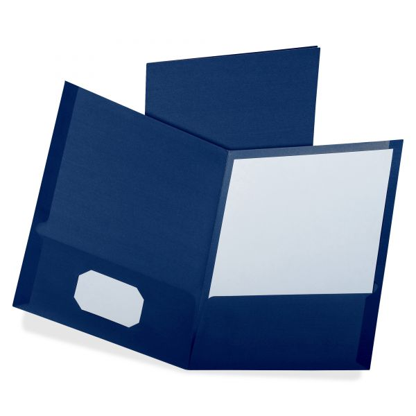 Oxford Linen Finish Twin Pocket Folders, Letter, Navy, 25/Box