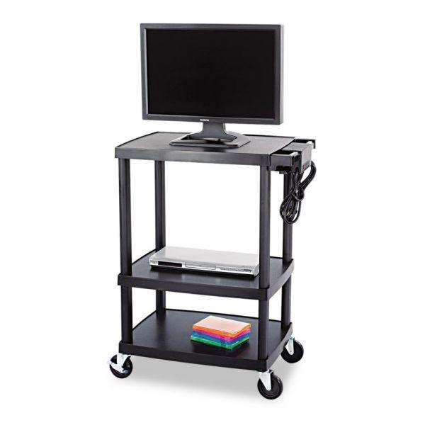 Safco Three Shelf Height Adjustable AV Cart, 80lb Cap, 27-1/2 x 18-1/2 x 42, Black