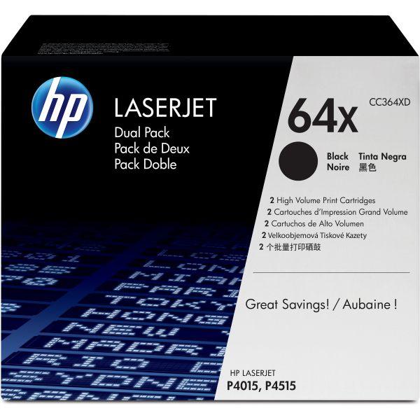 HP 64X Black High Yield Toner Cartridges (CC364XD)