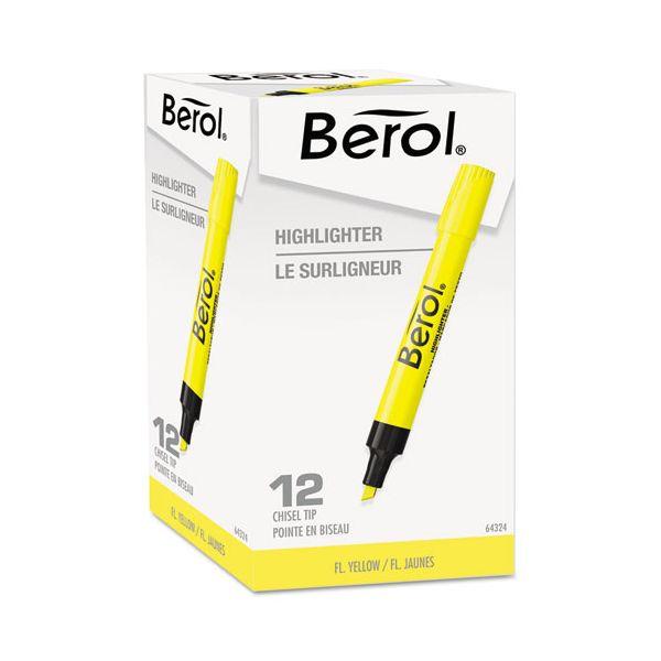 Berol 4009 Highlighter, Chisel Tip, Fluorescent Yellow, Dozen
