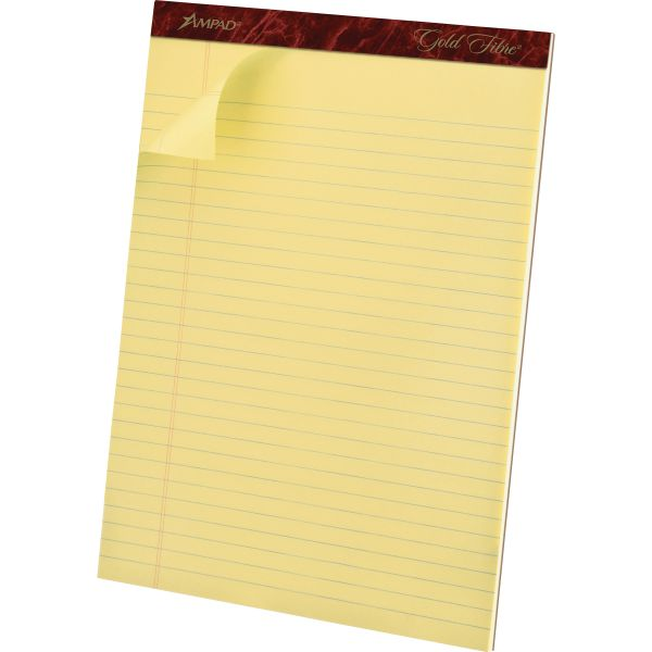 Ampad Gold Fibre Ruled Pad, 8 1/2 x 11 3/4, Canary, 50 Sheets, Dozen