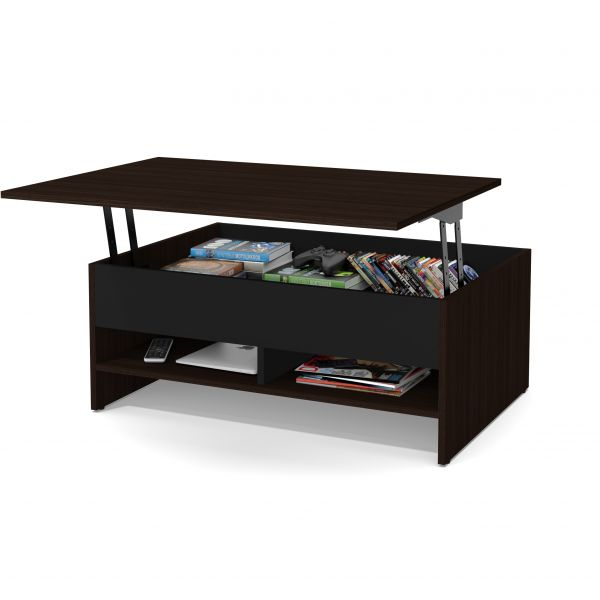 Bestar Small Space 37 Inch Lift Top Storage Coffee Table In Dark