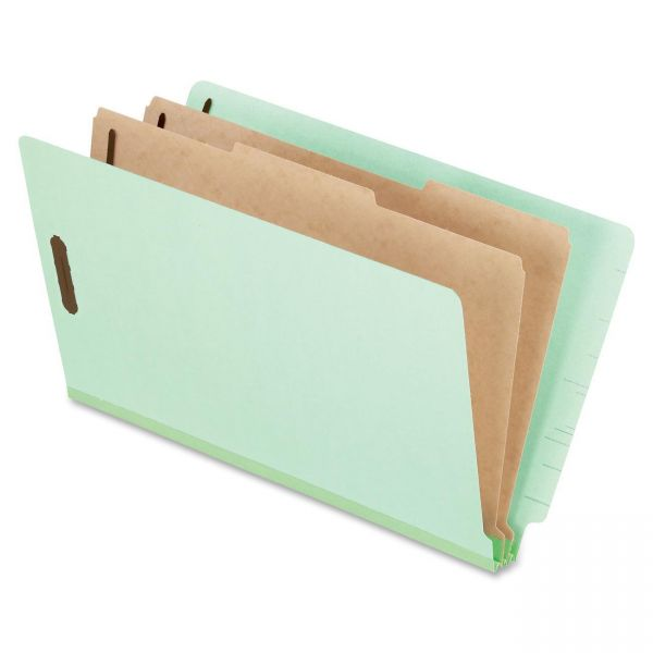 Pendaflex Pressboard End Tab Folders, Legal, 2 Dividers/6 Section, Pale Green, 10/Box