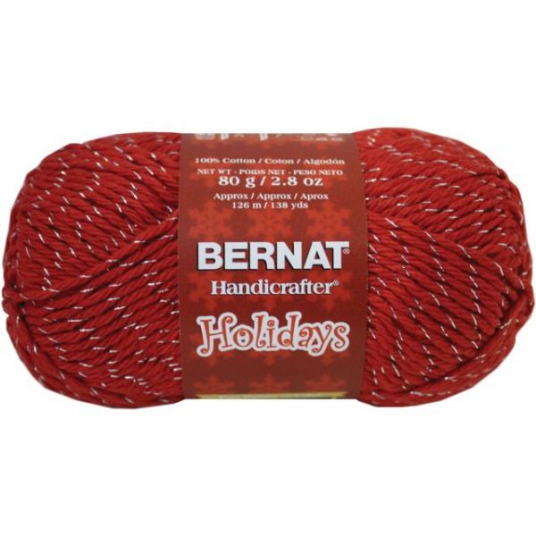 Bernat Handicrafter Holidays Sparkle Yarn - Red Sparkle with Silver Thread
