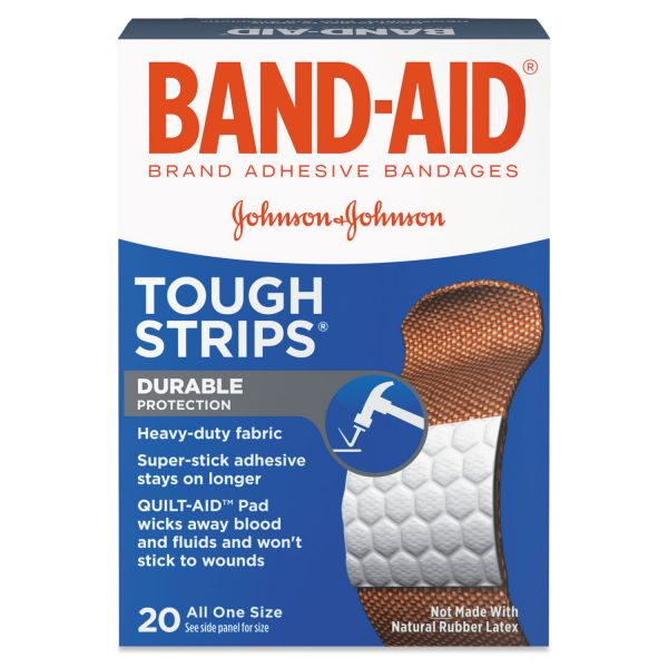 "BAND-AID Flexible Fabric Adhesive Tough Strip Bandages, 1"" x 3 1/4"", 20/Box"