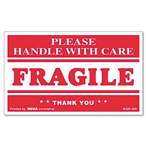 "Universal ""Fragile Handle with Care"" Self-Adhesive Shipping Labels"