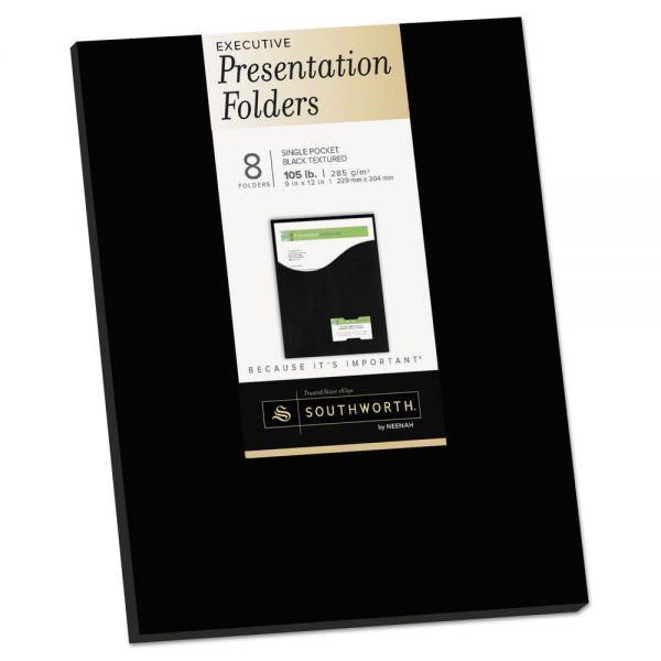 Southworth One-Pocket Presentation Folders, 8 1/2 x 11, Black, 8/Pack