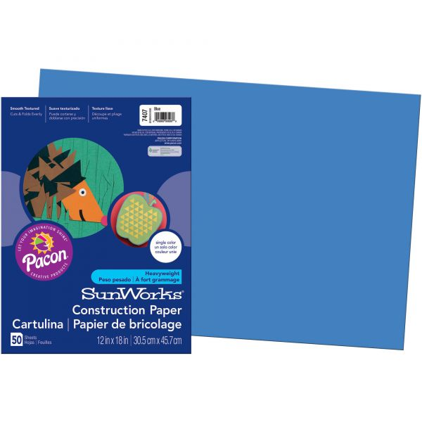 SunWorks Construction Paper, 58 lbs., 12 x 18, Blue, 50 Sheets/Pack