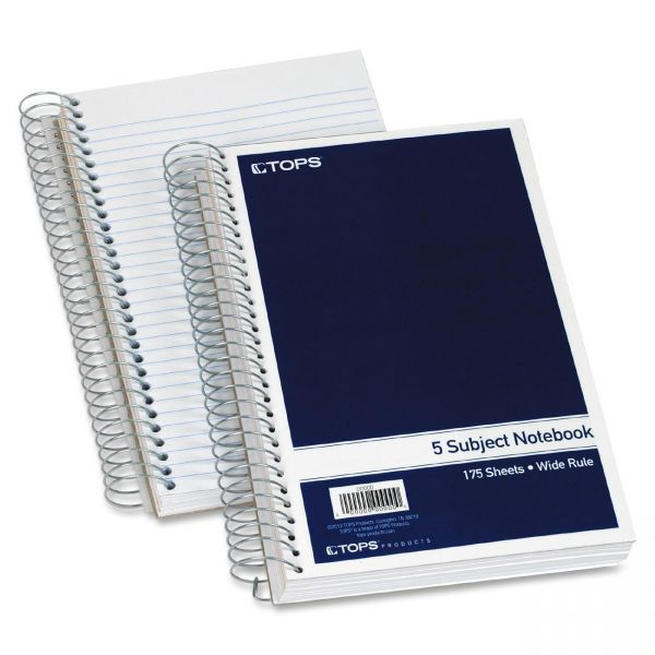 TOPS 5-Subject Wide Ruled Spiral Notebook