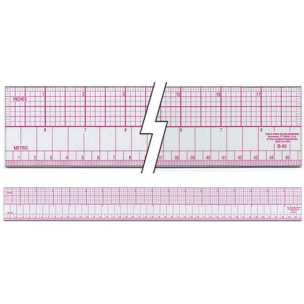 Inch & Metric Beveled Ruler 18""