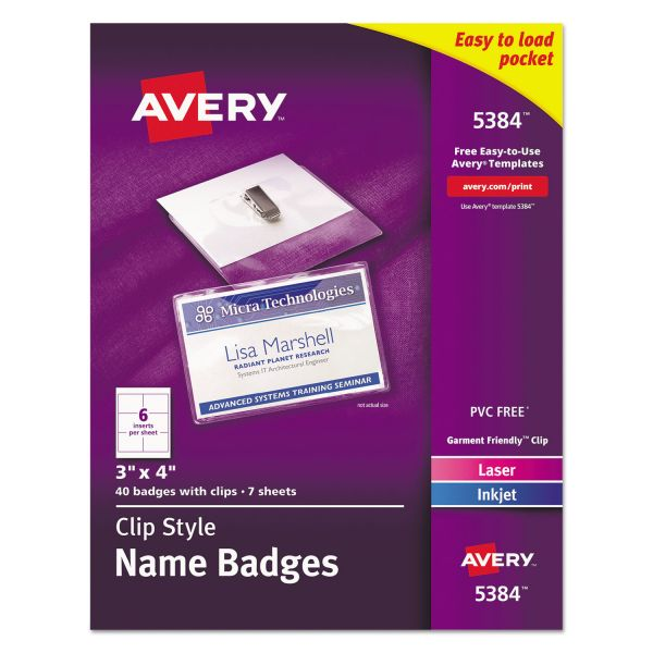 Avery Clip-Style Name Badge Holders w/Inserts, Top Load, 3 x 4, White, 40/Box