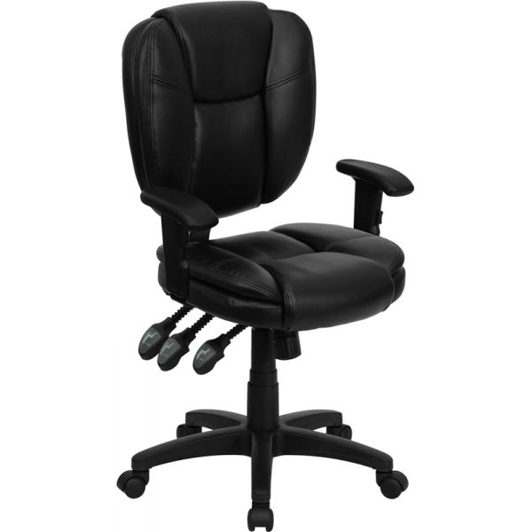 Flash Furniture Mid-Back Multi-Functional Ergonomic Swivel Task Chair [GO-930F-BK-LEA-ARMS-GG]