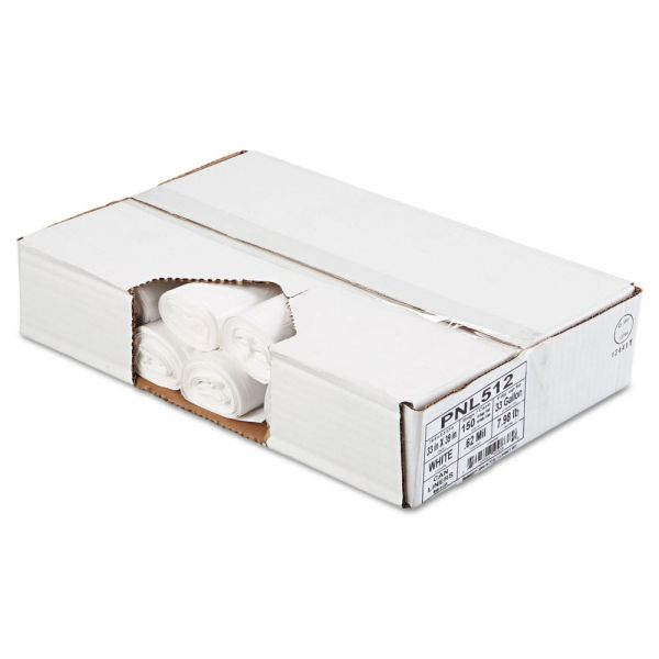 Penny Lane Linear Low Density Can Liners, .6mil, 33 x 39, White, 10 Bag/Roll, 15 Roll/CT