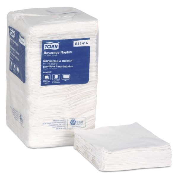 Tork Universal Beverage Napkins, 1-Ply,9 3/8x9 3/8, 1/4 Fold,Poly-Pack,White, 4000/Ct