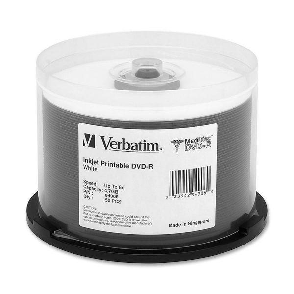 Verbatim MediDisc DVD-R 4.7GB 8X White Inkjet Printable with Branded Hub - 50pk Spindle
