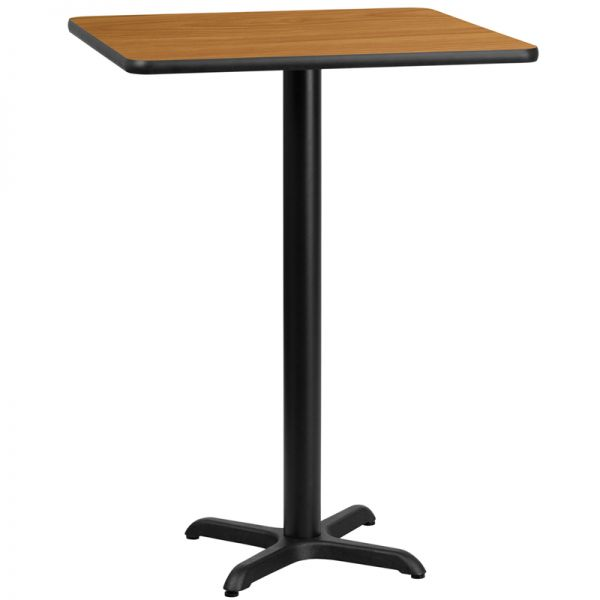 Flash Furniture 24'' Square Natural Laminate Table Top with 22'' x 22'' Bar Height Table Base