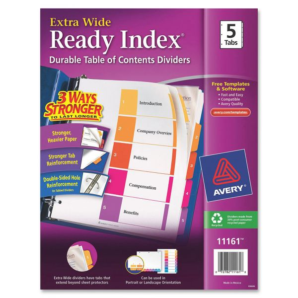 Avery Extra Wide Index 5-Tab Numbered Dividers With Table Of Contents Page
