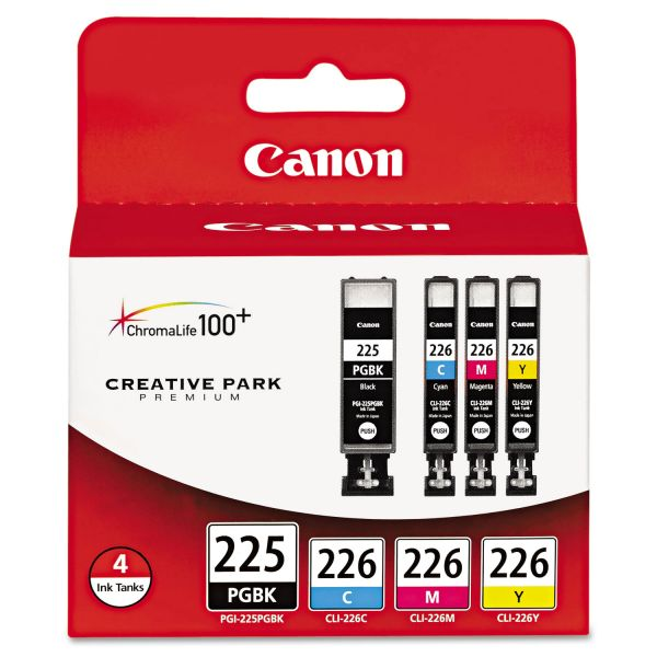 Canon PGI-225 Black/CLI-226 Color Combo Pack Ink Cartridges (4530B008)